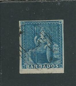 BARBADOS 1855-58 (1d) PALE BLUE FU SG 9 CAT £70