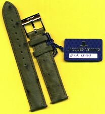 GENUINE BREITLING STEEL BUCKLE TANG and GENUINE GREEN OSTRICH STRAP BAND 18mm