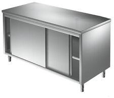 CM100x60x85h TABLE INOX PORTES COULISSANTES NEUTRE CENTRAL, MEUBLE ARMOIRE NEUF