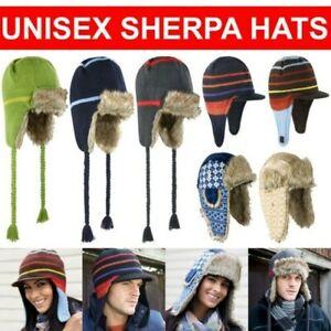 Womens Mens Winter Trapper Hat Fleece Faux Fur Russian Sherpa Cap Size S M L