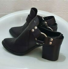 """THERAPY """"Marlin"""" Black PU Leather Ankle Boots Block Heel Shoe Size 8"""