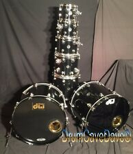 DW DRUM WORKSHOP PERFORMANCE SERIES 7 PIECE, DOUBLE BASS SHELL PACK, BLACK MIRRA