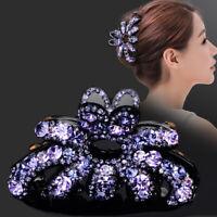Womens Elegant Rhinestone Large Hair Claw Fully-jewelled Jaw Clip Pin Acrylic