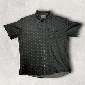 Howler Bros Button Up Shirt Short Sleeve Black Gray Cotton Blend Men XXL
