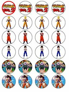 24 X DRAGON BALL Z PRE CUT BIRTHDAY RICE PAPER CAKE TOPPERS