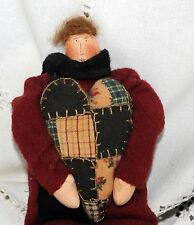 Vintage Hand Made Doll Flannel Wool Coat Painted Face Ooak Mohair Hair Heart :