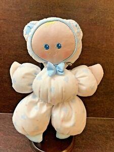 """vtg Fisher Price Slumber Babies plush 10"""" doll white blue teddy bears lovey 1989"""