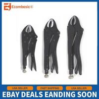 """Set of 3 Heavy Duty Black Locking Pliers 5"""" 7"""" 10"""" Top Quality SHIP FROM USA"""