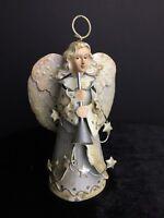 "Vintage Tin Angel Ceramic Head 3D Handcrafted Christmas Ornament RARE 6""x3"""