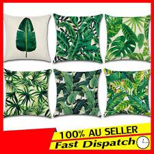 """Tropical Sofa Leaves Pillow Case AU Throw Banana Green Linen 18"""" Cushion Cover"""