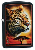Zippo Mazzi Leopard Black Matte Windproof Pocket Lighter, 49068