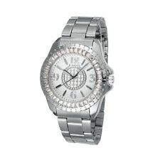 Fashion Women Rhinstone Stainless Steel Quartz Wrist Watches SilverWACH-L021-05B