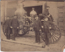 1890s CABINET PHOTO LOT 16 VIEWS AKRON OHIO FIRE DEPARTMENT HORSE DRAWN TRUCKS