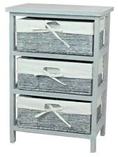 Rustic Gray Wooden Storage Cabinet Chest with 3 Lined Maize Basket Style Drawers