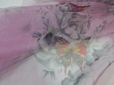 Vintage Scarf🌷Purple Sheer Butterfly & Flowers Floral Chiffon 32X32
