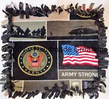 HANDMADE BABY / PET MINI FLEECE TIED SECURITY BLANKET - US ARMY / BLACK 15 X 17
