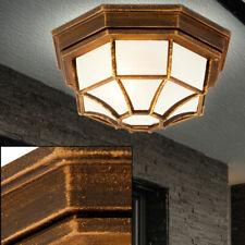 ALU Decken Leuchte schwarz gold Terrassen Außen Wand Beleuchtung Glas Lampe Weg