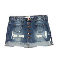 One Teaspoon Le Cat Mini Button Fly Distressed Denim Skirt Sz 25 Raw Hem