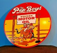 VINTAGE PEP BOYS MOTOR OIL PORCELAIN GAS MOTOR OIL SERVICE STATION PUMP SIGN