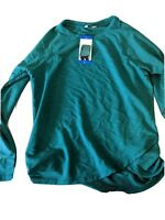 Danskin Ladies' Long Sleeve Crossover Top Colonial Blue Large - New With Tags