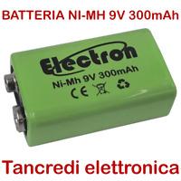 Pila Batteria ricaricabile Ni-Mh 9V 300mAh per radiomicrofoni prismatica 7326