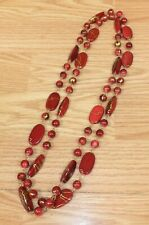 Long Red & Gold Tone Plastic Stone Style Women's Fashion Jewelry Necklace