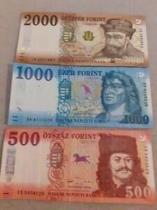 Ungarn 3500 HUF Forint  3 Geldscheine Banknoten  Lot Urlaubsgeld gültig