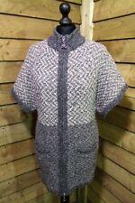 Aran Crafts of Ireland Full Zip Merino Wool Coatigan/Cardigan Grey Small 8/10UK