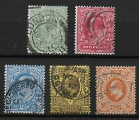 Between SG279 & 286. 1911 Harrison Perf.15x14 Set of 5. Very Fine Used. Ref:0515