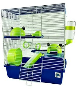 Calypso Extra Large Syrian Hamster Cage Blue and Lime 3 Storey