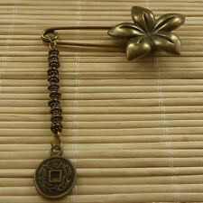 21pcs bronze plated flower brooch with nice charms 62x31mm ZH990