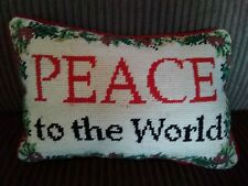 Wool Needlepoint Christmas Pillow Peace To The World ~ Pine cones Rustic
