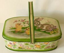 1952 England Easter Tin Litho Hinged Lunch Candy Box Bunny Rabbit Eggs Chicks