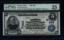 1902 $5 The Northern National Bank of Toledo Ohio PMG 25 Fr.598 Charter Ch#809