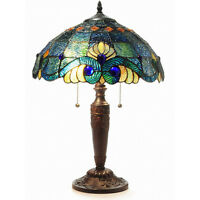 "Blue Jeweled  25""H Table Lamp Stained Glass Art Light Lamps NEW"