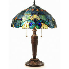"""Blue Jeweled  25""""H Table Lamp Stained Glass Art Light Lamps NEW"""