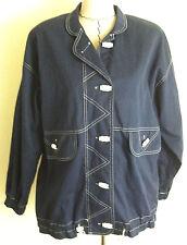 Vintage Joyce womens blue white nautical sailing jacket coat size M L