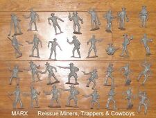 Marx reissue Miners, trappers & cowboys in gray 32 figures toy soldiers
