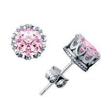 Fashion Women Silver Plated Crown Ear Stud Earrings Pink Cubic Zirconia Jewelry