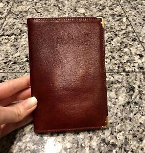 Salvatore Ferragamo Burgundy Leather Travelers Check Wallet