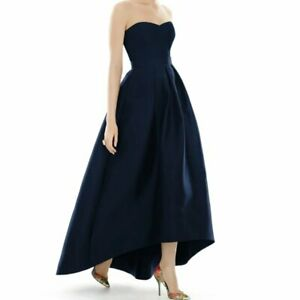 ALFRED SUNG Women Strapless High/Low Ballgown Size - 14 in Navy