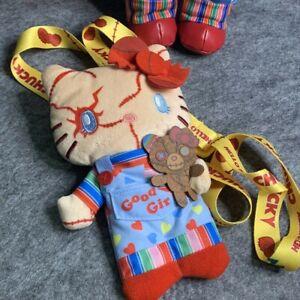 "Hello Kitty Chucky Child's Play 7"" Plush Doll Pass Case Pouch Bag USJ Halloween"