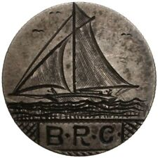 "LOVE TOKEN ""Sailboat/B–R–C"" engraved on 1878 Seated Liberty Dime"