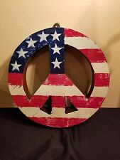 American Recycled Peace Sign 13 Inch with loop for hanging