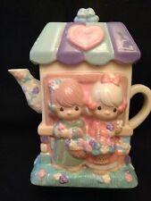 "Precious Moments ""Flower Shop"" Teapot Figurine By Houston Harvest Spring Flowers"