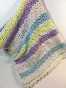 Girl's HANDMADE Purple, Pink, Blue, Yellow & White Striped Crochet Knit Blanket