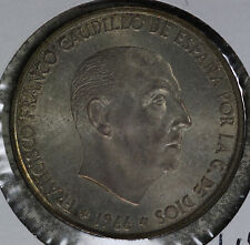 Lightly Toned Uncirculated 1966 Spain 100 Pesetas Silver Coin