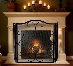 SHERBROOKE FIRESCREEN FIREPLACE ACCESSORIES Wrought Iron FIRE SCREEN (Black)