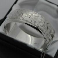 1962 Vintage Wide & Heavy 925 Silver 1/2 Engraved Scroll Design Bangle Bracelet