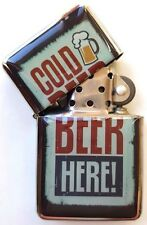 Vintage Beer Design Metal Windproof Flip Top LIGHTER. Cold Beer Here!
